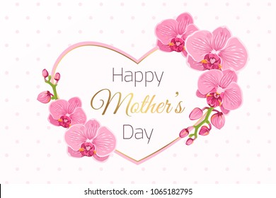 Happy Mothers Day greeting card template. Exotic bright pink purple orchid phalaenopsis flowers foliage garland. Decorated heart shape frame. Shiny golden text placeholder. Polka dot background.