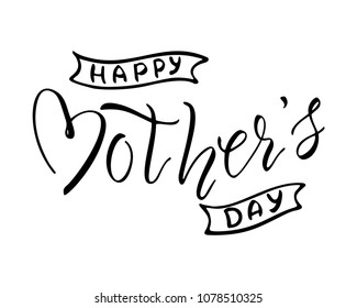 Happy Mother's Day greeting card with hand drawn heart shape lettering. Holiday banner template.