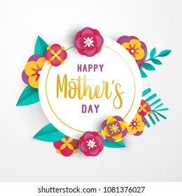 Happy mothers day greeting card template with 3d paper flowers and leaves on isolated background. EPS10 vector.