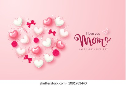 Happy Mothers Day greeting card design with hearts, bows, roses and serpentine. Design layout for invitation, greeting card, ad, promotion, banner, poster, voucher. Vector Illustration.