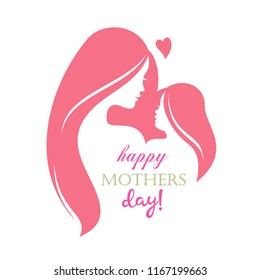 happy mothers day greeting card template, stylized symbol of mom and baby