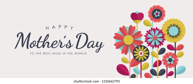Happy Mother's Day greeting card design with paper cut flowers