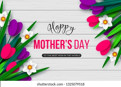 Happy Mothers day greeting card. 3d paper cut bouquet of spring flowers tulip and narcissus, white wood texture background. Vector illustration.