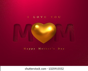 Happy Mothers day greeting card. Paper cut typographic design with 3d realistic metallic heart. Red halftone effect background. Vector illustration.