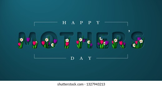 Happy Mothers day greeting card. Paper cut flowers tulips and narcissus, holiday background. Vector illustration.
