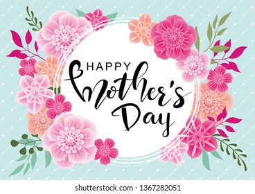 Happy Mother's Day greeting card with 3d flowers on green background. Vector illustration for women's day, 8 March, easter, invitation, banners,  discount, sale, flyer, poster, decoration.