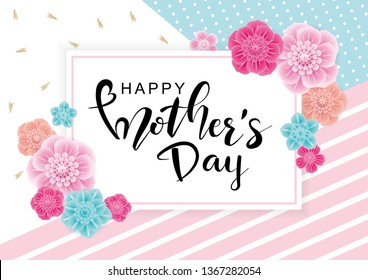 Happy Mother's Day greeting card with 3d flowers on trendy background. Vector illustration for women's day, 8 March, easter, invitation, banners,  discount, sale, flyer, poster, decoration.