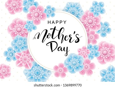 Happy Mother's Day greeting card with pink and blue 3d flowers.Vector illustration for women's day, shop, invitation, banners, discount, sale, flyer, poster, decoration.