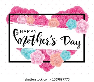 Happy Mother's Day greeting card with 3d flowers on white background.Vector  illustration for women's day, shop, invitation, banners, discount, sale, flyer, poster, decoration.