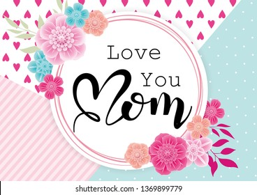 Happy Mother's Day greeting card with 3d flowers on trendy background. Vector illustration for women's day, shop,  invitation, banners, discount, sale, flyer, poster, decoration.
