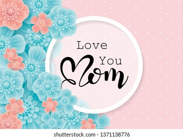 Happy Mother's Day greeting card with 3d flowers on pink background.Vector  illustration for women's day, shop, easter, invitation, banners, discount, sale, flyer, poster, decoration.