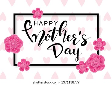 Happy Mother's Day greeting card with 3d flowers on pink heart background.Vector illustration for women's day, shop, easter, invitation, banners, discount, sale, flyer, poster, decoration.