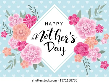 Happy Mother's Day greeting card with 3d flowers on blue background.Vector  illustration for women's day, shop, easter, invitation, banners, discount, sale, flyer, poster, decoration.