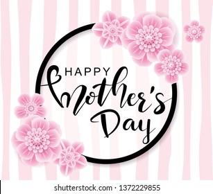 Happy Mother's Day greeting card with pink  flowers on pink trendy background.Vector illustration for women's day, shop, easter, invitation, banners, discount, sale, flyer, poster, decoration.