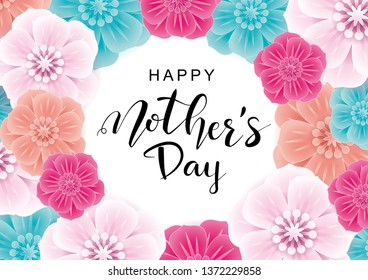 Happy Mother's Day greeting card with  colorful flowers.Vector illustration for  women's day, shop, easter, invitation,  banners, discount, sale, flyer, poster,  decoration.