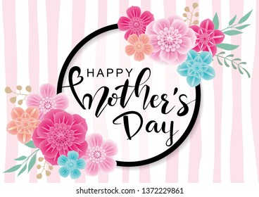 Happy Mother's Day greeting card with  colorful flowers on trendy  background.Vector illustration for women's day, shop, easter, invitation, banners, discount, sale, flyer, poster, decoration