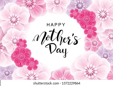Happy Mother's Day greeting card with pink flowers.Vector illustration for women's day, shop, easter, invitation, banners, discount, sale, flyer, poster, decoration.