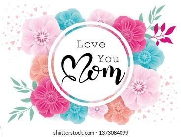 Happy Mother's Day greeting card with  colorful flowers on white background.Vector illustration for women's day, shop, easter, invitation, banners, discount, sale, flyer, poster, decoration.