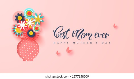 Happy Mothers day greeting card. Paper cut flowers and butterflies, holiday background. Vector illustration.