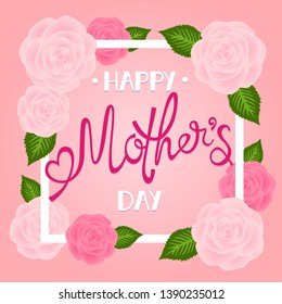 Happy Mother's Day greeting card with roses on a pink background. Template for greeting card, banner, brochure, poster for mother's day