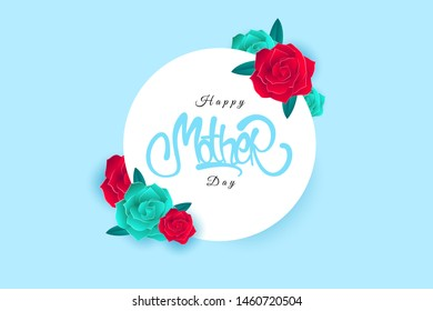 Happy Mother's Day greeting card with elemnt flowers background