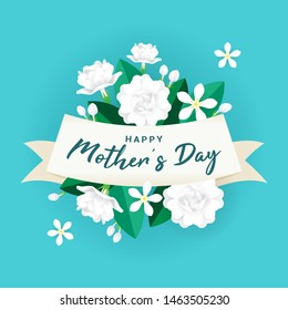 Happy Mother's day Greeting Card Vector illustration. Jasmine flowers on blue background
