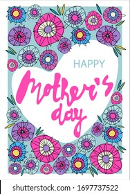 Happy Mothers Day greeting card design with delicate floral decoration. Multicolored abstract flowers, heart-shaped form, hand lettering. Isolated on white