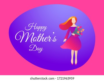 Happy Mother's Day Greeting Card. Beautiful Woman with a Bouquet of Flowers in a Trendy Style. Flat Design. Vector Illustration