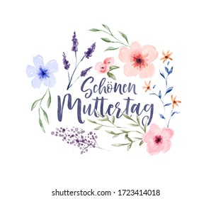 Happy Mother's Day greeting card typography quote with colorful watercolor spring flower decoration translated in german language.