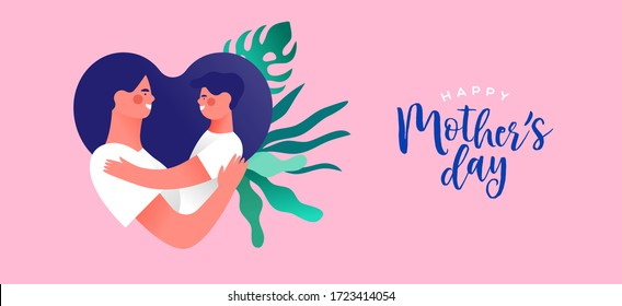 Happy mother's day greeting card illustration of mom hugging boy child making heart shape and mothers holiday text quote.