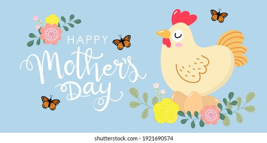 Happy Mother's Day greeting card with cute hen and eggs. Chicken and baby. Animal cartoon character set. Vector in flat style.