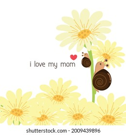 Happy Mother's Day Greeting Card. Mom and baby snail cartoon.