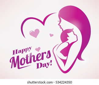 happy mothers day greeting card template, stylized symbol of mom and baby.