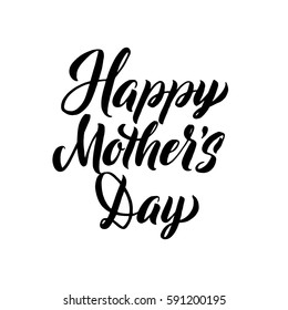 Happy Mother's Day Greeting Card. Black Hand Calligraphy Inscription. Lettering Illustration.