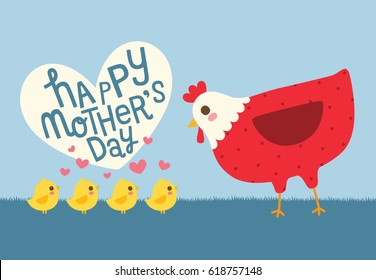Happy mother's day greeting card with cute chicken and hen. Vector Illustration.