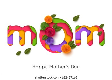 Happy Mothers day greeting card with paper rose flowers. Vector illustration