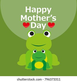 Happy Mother's Day Greeting Card. Mom and baby animal cartoon.