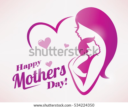 Happy mothers day greeting card template stock vector royalty free happy mothers day greeting card template stylized symbol of mom and baby m4hsunfo