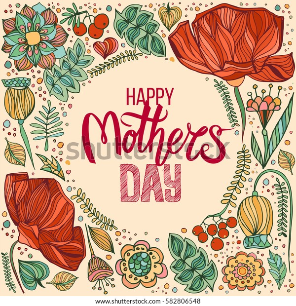 Happy Mothers Day greeting card with hand drawn lettering on decorative floral background.