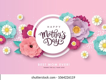 Happy mother's day greeting design with beautiful blossom flowers