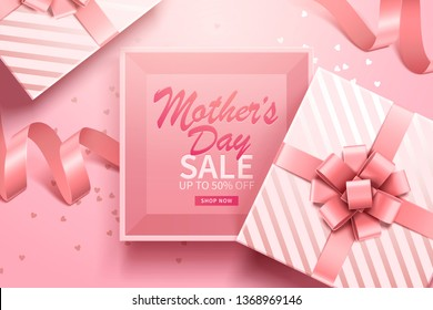Happy Mother's Day greeting sale banner with pink gift box and ribbons. Vector.