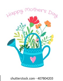 Happy Mother's day greeting vector illustration for postcards. Spring flower bouquet in watering can.