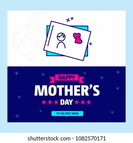 Happy Mother's day greetings card with unique design and blue th