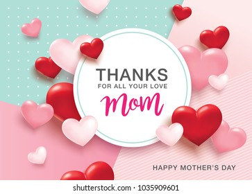 Happy Mother's Day greetings design with 3D hearts background and text space