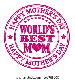 Happy mother's day grunge rubber stamp on white, vector illustration