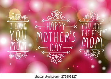 Happy mothers day handlettering elements with flowers on white background. Happy mothers day greeting cards. Text - Happy mother's day