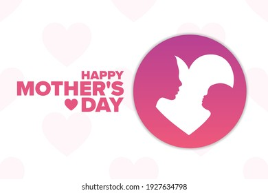 Happy Mother's Day. Holiday concept. Template for background, banner, card, poster with text inscription. Vector EPS10 illustration