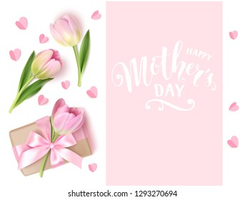 Happy Mother's Day. Holiday design template. Calligraphic lettering text with decorative gift box and tulip flowers. Vector illustration