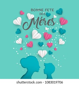 Happy Mothers day holiday greeting card illustration in french language. Pink paper cut mom and little boy silhouette cutout with 3d heart shape papercraft. EPS10 vector.