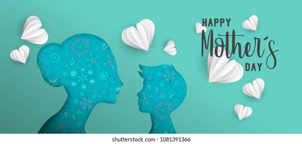 Happy Mothers day holiday illustration. Pink paper cut mom and boy silhouette cutout with spring doodles. Horizontal format design ideal for web banner or greeting card. EPS10 vector.